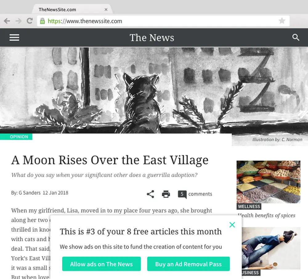Limit dree webpage views to a spesific number to profit despite ad blockers